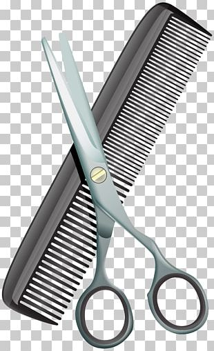 Comb Hair-cutting Shears Beauty Parlour Scissors PNG