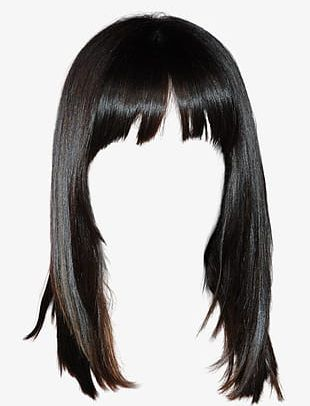 Western Style Black Hair Wig Free To Pull The Material PNG