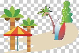 Coconut Tree Sun Umbrella Beach PNG