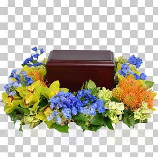 Floral Design Blue Cut Flowers Wreath PNG