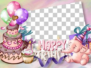 Birthday Cake Frame Greeting Card PNG