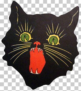 Black Cat Art Painting Illustration PNG