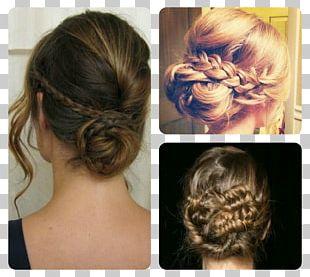 Long Hair Bun Braid Chignon Hairstyle PNG