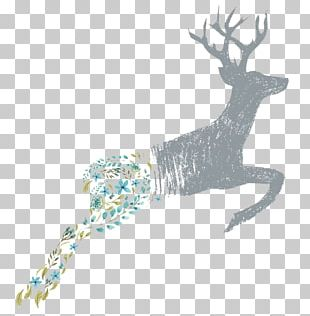 Deer Flower Floral Design PNG