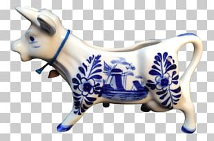 Cattle Blue And White Pottery Ceramic Cobalt Blue Figurine PNG