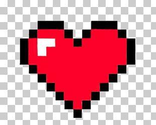 Pixel Art Heart 8-bit Color PNG