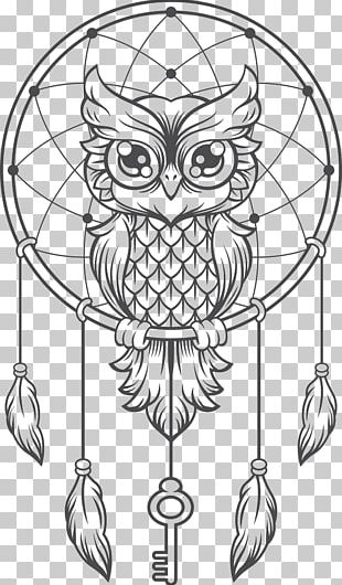 Dreamcatcher Owl Creative Haven Creative Kittens Coloring Book Illustration PNG
