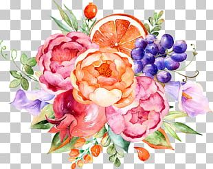 Flower Fruit Watercolor Painting PNG