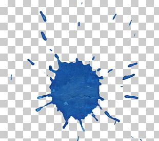 Blue Splash Watercolor Painting Ink PNG