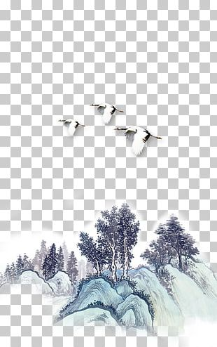 China Ink Wash Painting Computer File PNG