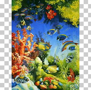 Coral Reef Fish Ecosystem Painting PNG