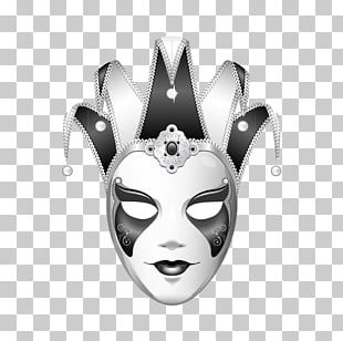 Joker Mask Black And White Jester PNG