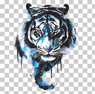 Tiger Drawing Tattoo Art Watercolor Painting PNG