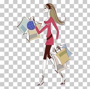 Shopping Cartoon Illustration PNG
