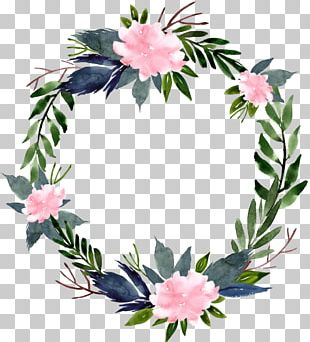 Floral Design Watercolour Flowers Wreath PNG