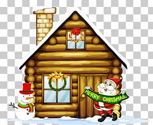Transparent Christmas House With Santa And Snowman PNG