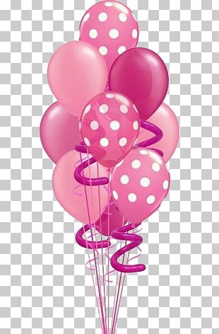 Balloon Pink Birthday Flower Bouquet PNG