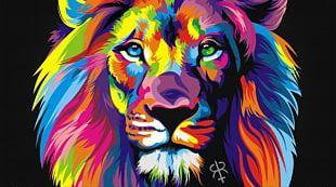 Lion Art Painting Canvas PNG