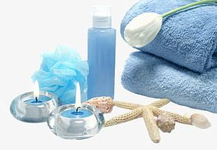 Beauty Spa Blue Towel Candle PNG