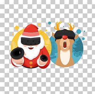 Santa Claus Elk Reindeer Christmas Illustration PNG