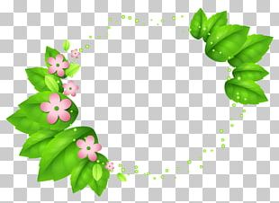 Green Spring Decor With Pink Flowers PNG