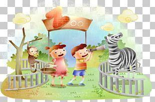 Giraffe Zoo Cartoon Illustration PNG