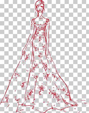 Drawing Fashion Wedding Dress Bride Sketch PNG