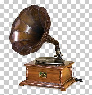 Phonograph Metal Wood Brass Graphophone PNG