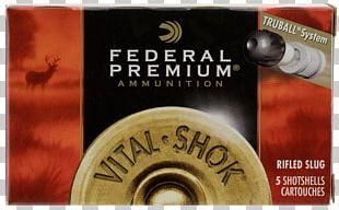 Shotgun Slug 20-gauge Shotgun Federal Premium Ammunition Shotgun Shell Firearm PNG