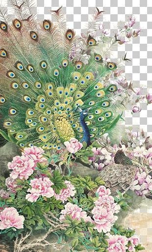 Floral Design Peafowl Fenghuang Phoenix PNG