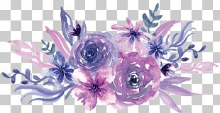 Watercolor Painting Flower Purple PNG
