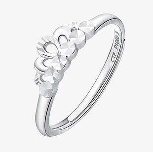 Chow Tai Fook Queen Crown Platinum Ring PNG