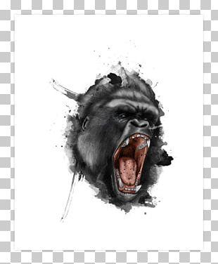 Gorilla Tattoo Flash Drawing PNG