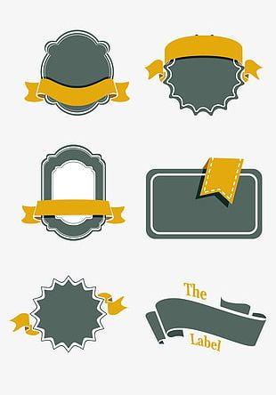 Simple Retro Ribbon Label Border Collection PNG