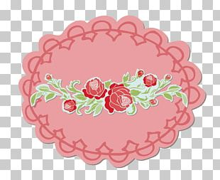 Vintage Red Lace Label Material PNG