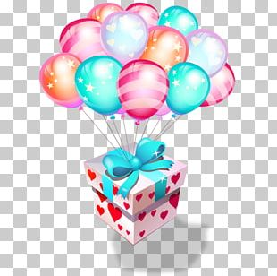 Birthday Cake Gift Balloon Party PNG