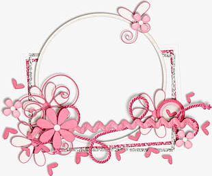 Pink Flower Decorative Circular Border PNG