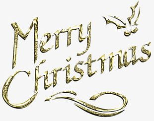 Golden Merry Christmas Font PNG