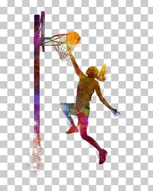 Women's Basketball Sport Slam Dunk Painting PNG