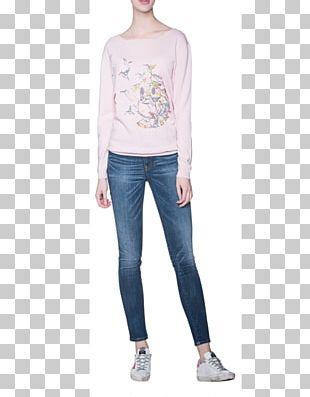 Long-sleeved T-shirt Jeans Long-sleeved T-shirt Tally WEIJL Sweat Gris & Rose PNG