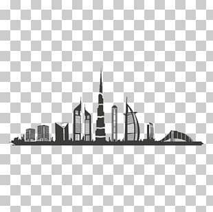 Dubai Skyline Silhouette Black And White PNG