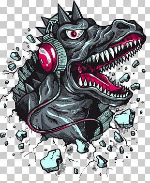 T-shirt Tyrannosaurus Hoodie Dinosaur Headphones PNG
