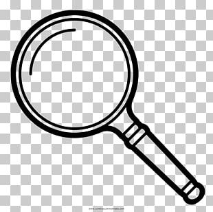 Drawing Coloring Book Magnifying Glass Black And White PNG