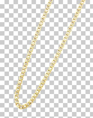 Necklace Curb Chain Gold Silver PNG