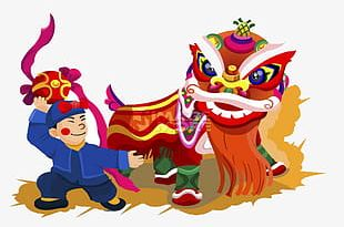 Chinese New Year Lion Dance PNG