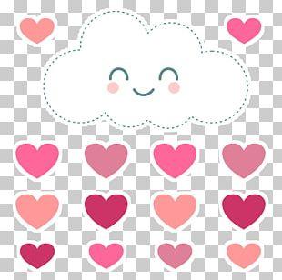Paper Cloud Rain Love Heart PNG