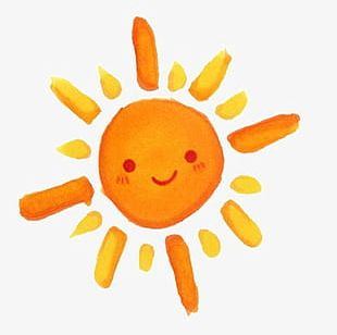 A Hand Painted Orange Sun PNG