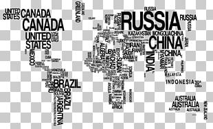 World Map Wall Decal Typography PNG
