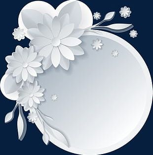 White Flower Decoration Pattern PNG