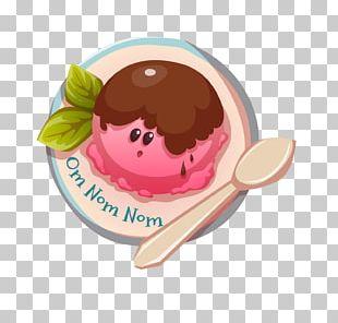 Ice Cream Waffle Illustration PNG